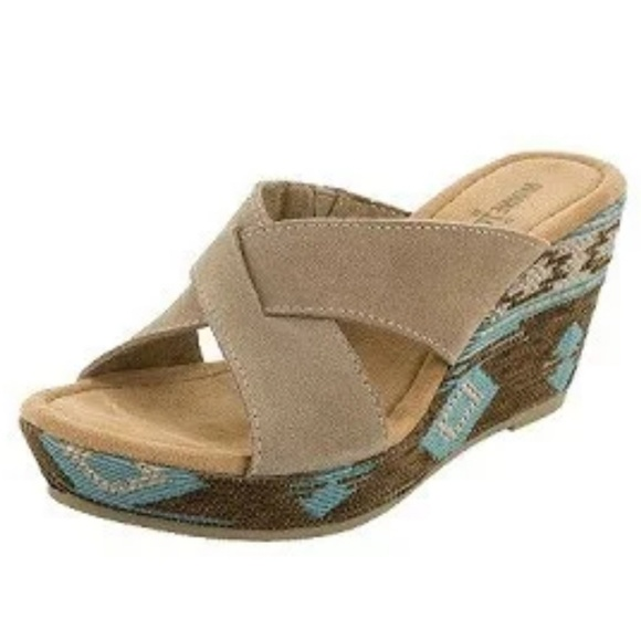 Minnetonka Shoes - Minnetonka Kylie Taupe Suede Wedge Sandals 9